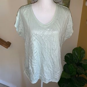 Chico's shimmer cutwork cap sleeve top size 2